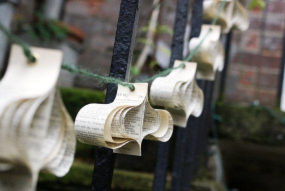 Matrimonio ghirlanda, ghirlanda di carta riciclata libro decorazioni, vero e proprio libro Decor, Shakespeare Matrimonio Decorazioni matrimonio rustico