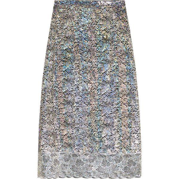 Christopher Kane Metallic lace midi skirt (18.255.680 IDR) ❤ liked on Polyvore featuring skirts, silver, metallic midi skirt, knee length pencil skirt, rainbow skirt, iridescent skirt and calf length skirts