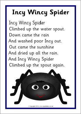 Incy Wincy Spider song sheet (SB10810) - SparkleBox