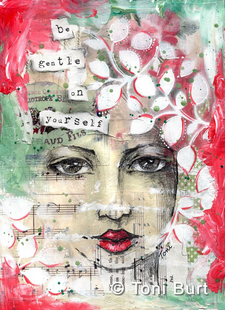 """""""be gentle on yourself"""" – from my art journal. Gorgeous leaf stencil on this girl…I love the way she is peaking out from within. …and the little s…"""
