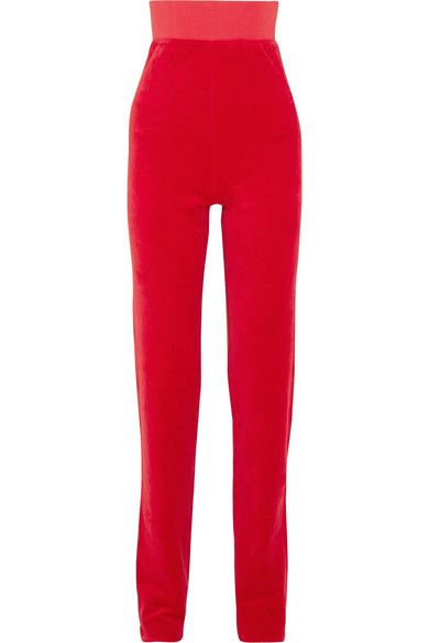 Red cotton-blend velour  Pull on  78% cotton, 22% polyester  Dry clean