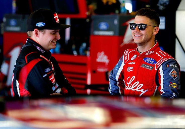 At-track photos: Daytona weekend Sunday, July 2, 2017 Cole Custer, driver of the No. 00 Haas Automation Ford, talks with Ryan Reed, driver of the No. 16 Lilly Diabetes Ford, in the garage area during practice for the NASCAR XFINITY Series Coca-Cola Firecracker 250 at Daytona International Speedway on June 29, 2017 in Daytona Beach, Florida. Photo Credit: Sean Gardner/Getty Images Photo: 85 / 85