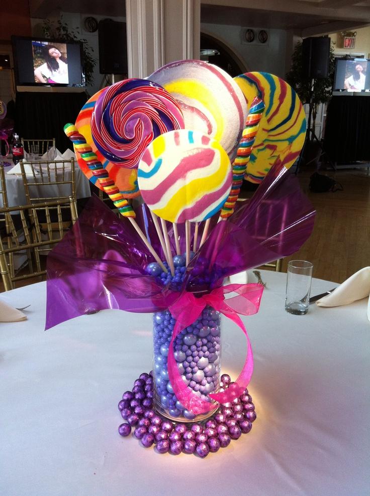 Lollipop centerpiece candy centerpieces pinterest