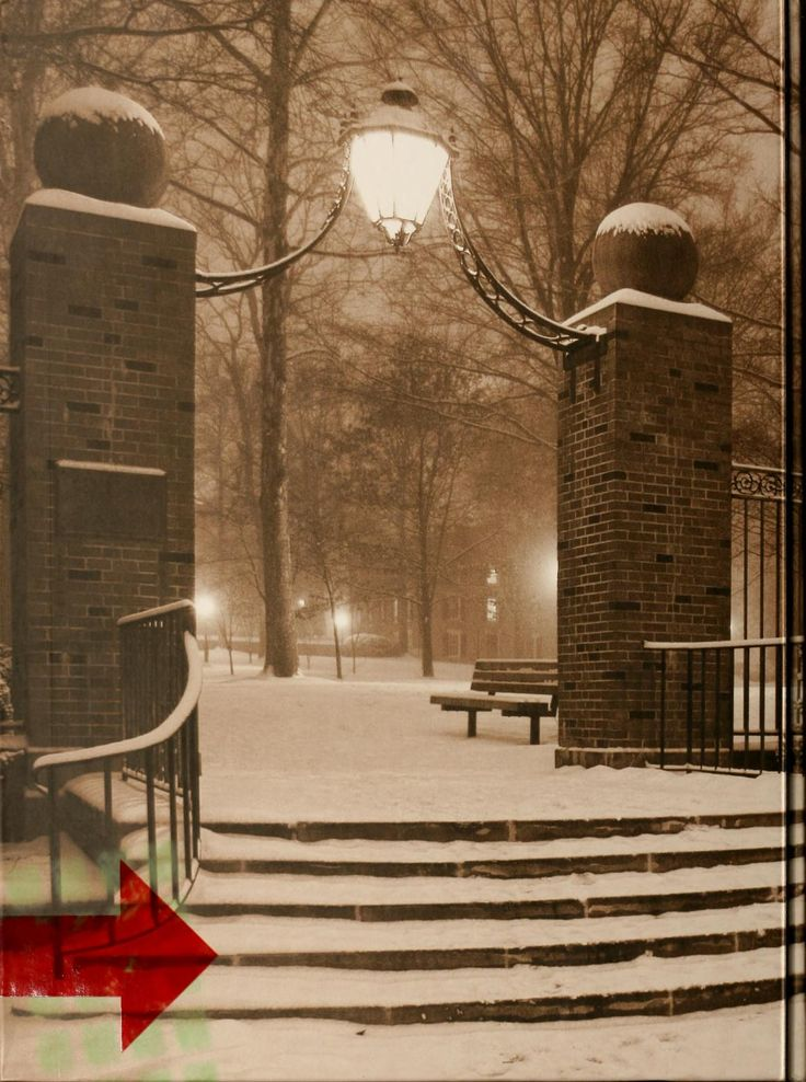 Athena Yearbook, 2007. Class gateway, with College Green in the background, covered in snow. :: Ohio University Archives