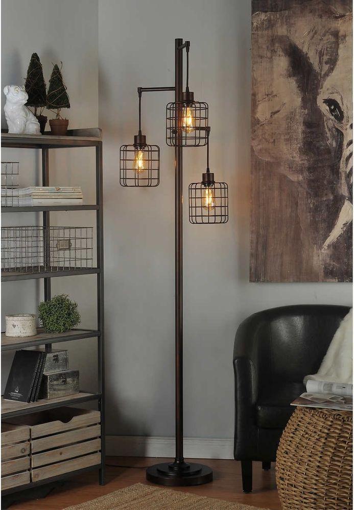 Industrial Floor Lamp Shade Pendant Cage Steampunk Reading Office Edison Bulb 7110103441068 Ebay Floor Lamps Living Room Steel Floor Lamps Lamps Living Room