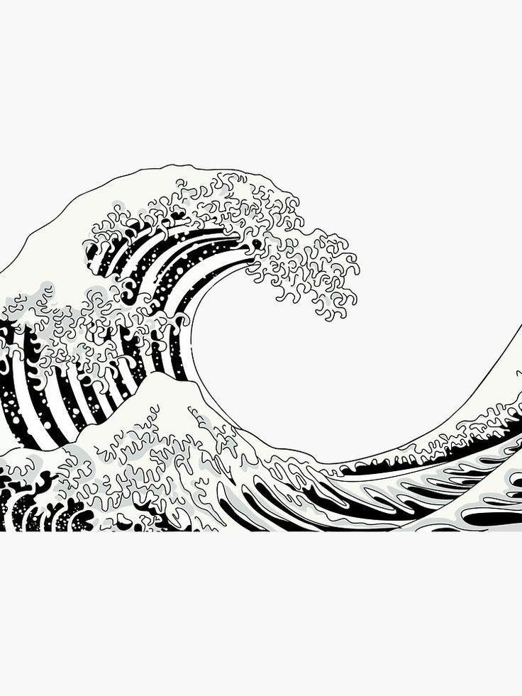 Black And White Great Wave Sticker By Xooxoo Black White
