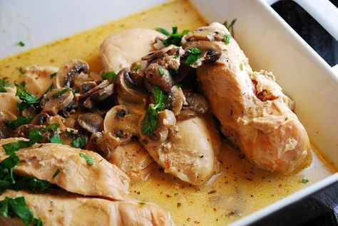 Crock Pot Italian Chicken - 5 Points+  (Creamy and flavorful, this is one slow cooker recipe that's a real crowd pleaser. A wine and cream cheese based sauce is seasoned with Italian dressing and smothers mushrooms and chicken breasts. It's an easy Weight Watchers crock pot recipe that the whole family will love.)  Because we needed to let it cook longer we doubled the wine & broth.  It was excellent served over brown rice!