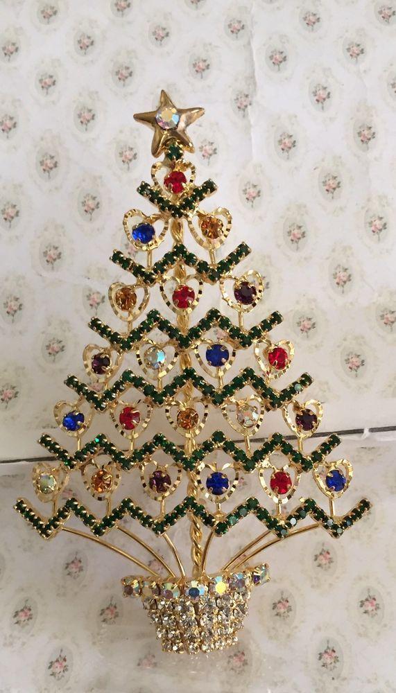 Vintage Heart Christmas Tree Pin Brooch ~ Standing ~ Christmas Holiday Season | eBay