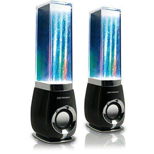 Metronic 477071 Enceintes / Haut-Parleur / Speakers 6W pour PC avec jeu de lumières et jets d'eau - Water Dancing - Noir