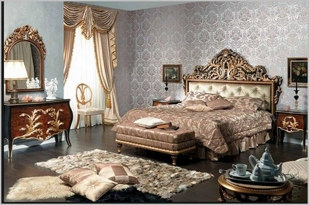 Спальня в стиле барокко,  текстиль