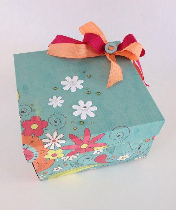 Scrapbook Explosion box. Custom photo Album. Brightly colored exploding album