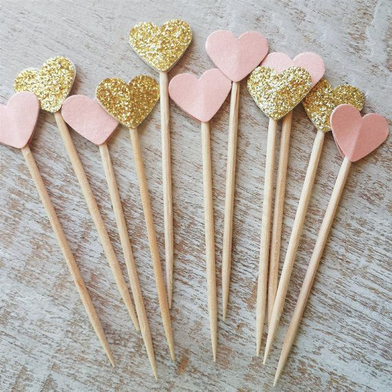 24 Pieces Gold and Blush Glitter Party Picks - Cupcake Toppers - Heart - Wooden Tooth Pick - Wedding - Birthday - Pink - Festive - New Year