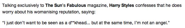 Harry talking about being a 'womanizer' in Fabulous Magazine
