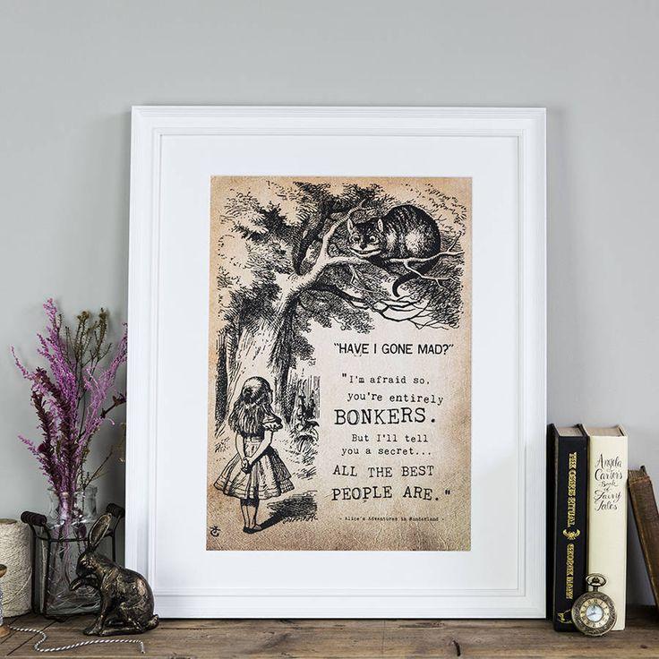 Alice In Wonderland 'Bonkers' Poster Print