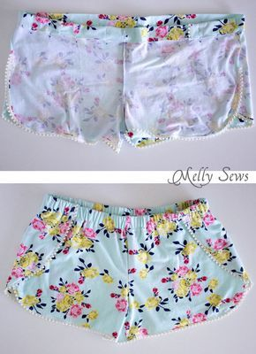 Step 4 - DIY Pom Pom Trim Shorts - These easy to make shorts are at home on the beach or at a concert. Sew boho shorts with this free pattern and tutorial by Melly Sews