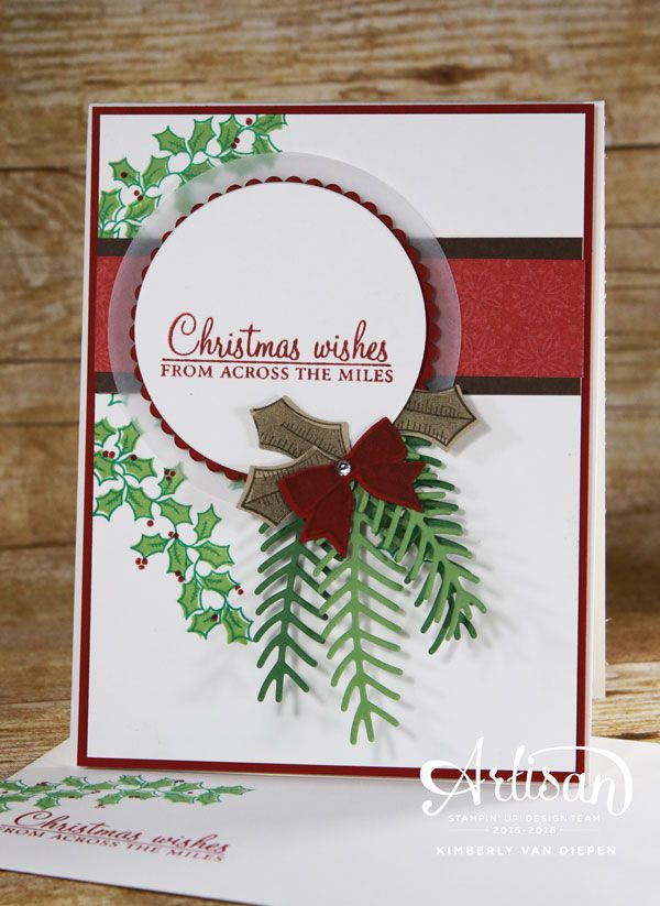 Christmas Cards using Holly Berry Happiness.  Create this stunning card using the Holly Berry Happiness stamp set and Pretty Pines thinlets dies.  Tutorial on my website. www.stampinbythesea.com