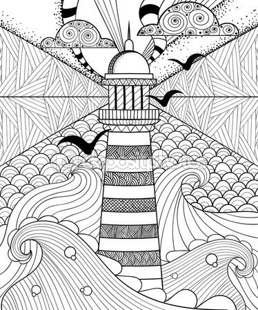 Hand drawn artistically ethnic ornamental patterned Lighthouse w — Vector de stock