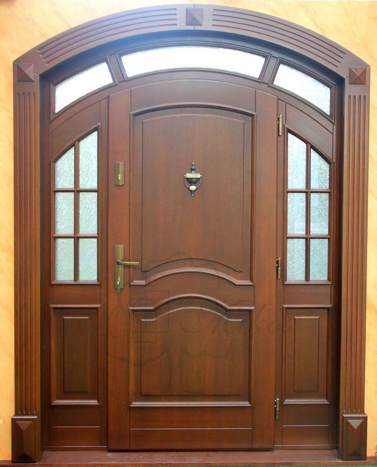 Drzwi zewnętrzne łukowe drewniane
