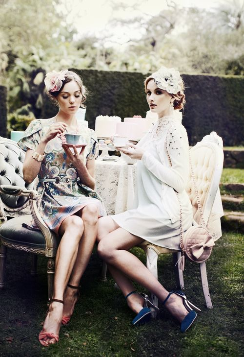 Haute Tea Party, complete with hats.
