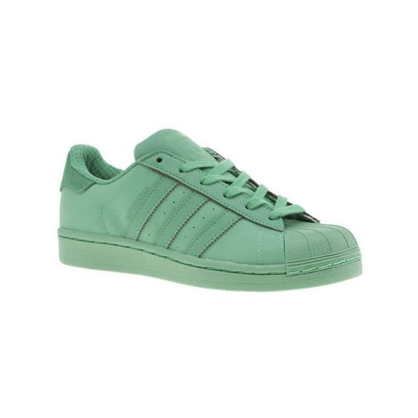 Adidas Light Green Adicolour Superstar So Bright Trainers ($105) ❤ liked on Polyvore featuring shoes, sneakers, light green, striped sneakers, synthetic shoes, striped shoes, bright sneakers and light green shoes