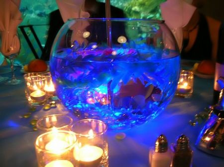 Fishbowl centerpiece with submersible led light