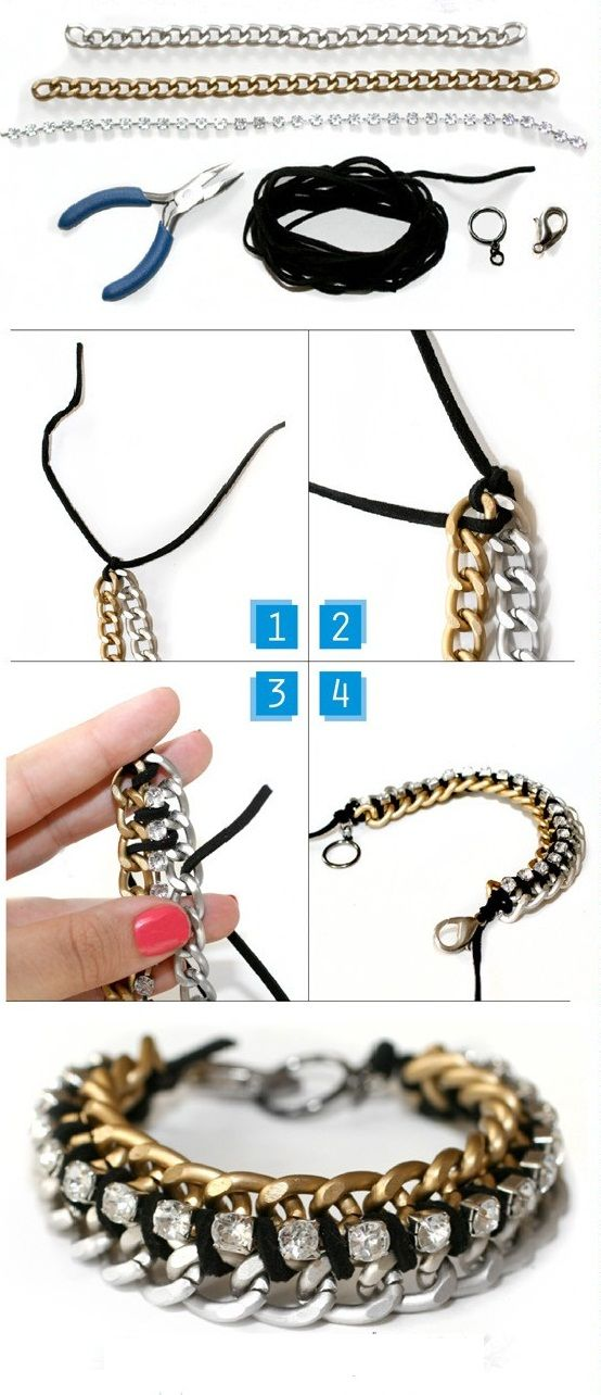 Rhinestone Cup chain and curb chain layered metal bracelet jewelry tutorial Uputstvo | Budi kreativan (scheduled via http://www.tailwindapp.com?utm_source=pinterest&utm_medium=twpin&utm_content=post185215867&utm_campaign=scheduler_attribution)