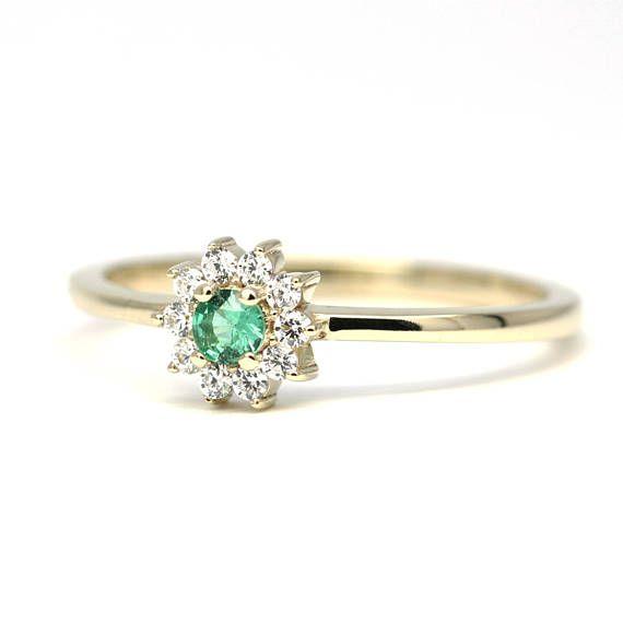 Mini Cluster Emerald And Diamond Ring Cluster Emerald