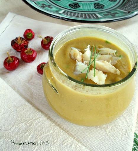 Crema di ceci al curry con baccalà