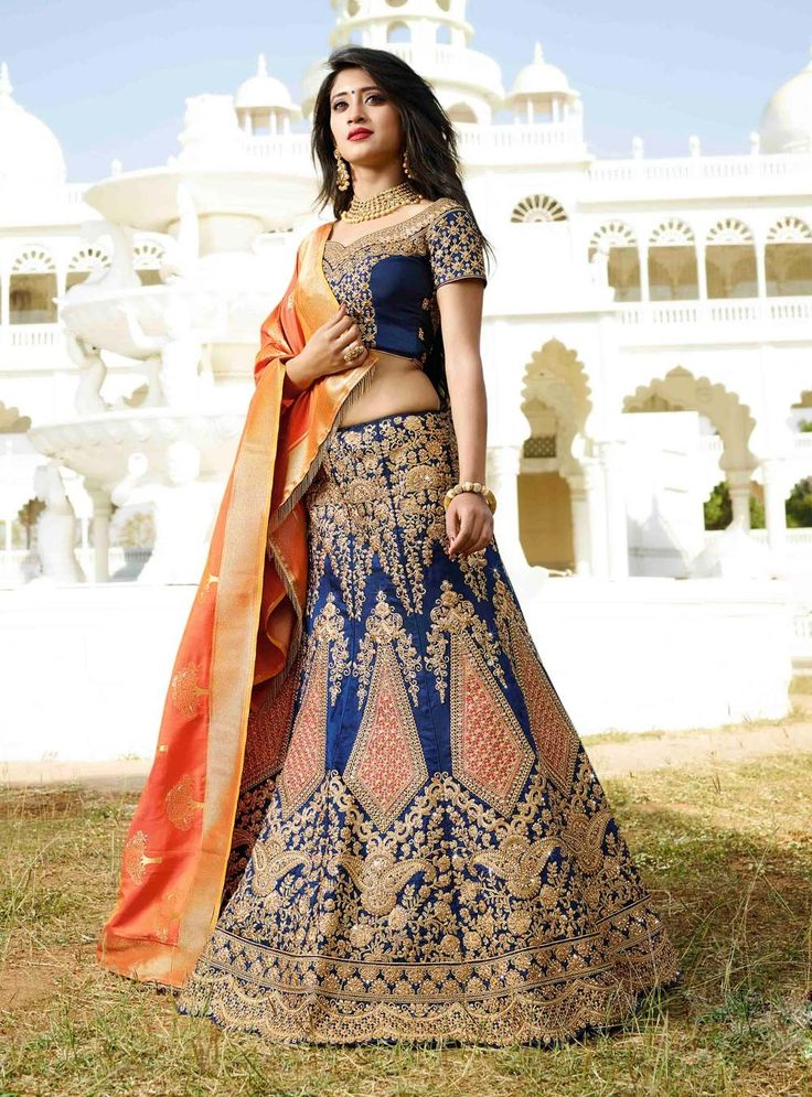 Bridal Choice Lehenga 2017 BRIDAL WEAR BLUE LEHENGA CHOLI WITH DESIGNER BLOUSE-DUPATTA