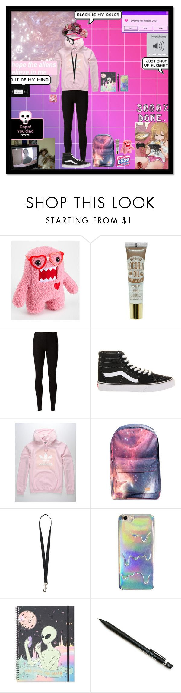 """Untitled #4"" by frank-iero-is-our-god ❤ liked on Polyvore featuring Rick Owens Lilies, Vans, adidas, Spiral, GET LOST, Paul Frank, Marcelo Burlon and Pentel"