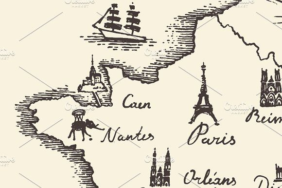 Old school style map of France by grop on @creativemarket