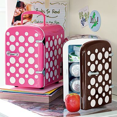 Double Dot Mini Cooler $59.00  great gift for the small dorm room or fun for the cubicle! Teeny weeny plug in frig wanna-be!