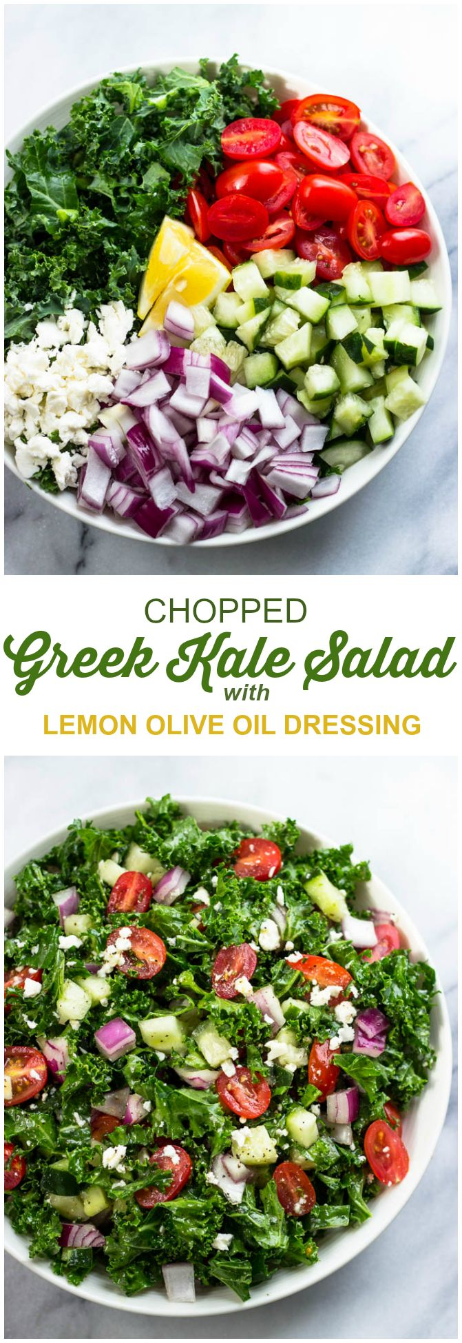 Greek Kale Salad with lemon Olive Oil Dressing