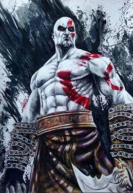 kratos dios de la guerra -técnica mixta-