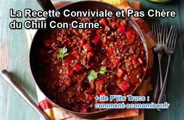 Ce succulent ragoût à base de viande hachée, d'haricots rouges et de piment est un plat convivial de la cuisine texane. Eh oui, contrairement à ce que l'on croit le chili con carne n'est pas un plat mexicain ! :-) Découvrez l'astuce ici : http://www.comment-economiser.fr/cuisine-texane-chili-con-carne.html?utm_content=bufferdf64e&utm_medium=social&utm_source=pinterest.com&utm_campaign=buffer