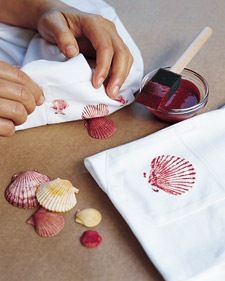 shell adorned sheets 'how to' tutorial - could be really great for cloth napkins as a gift...
