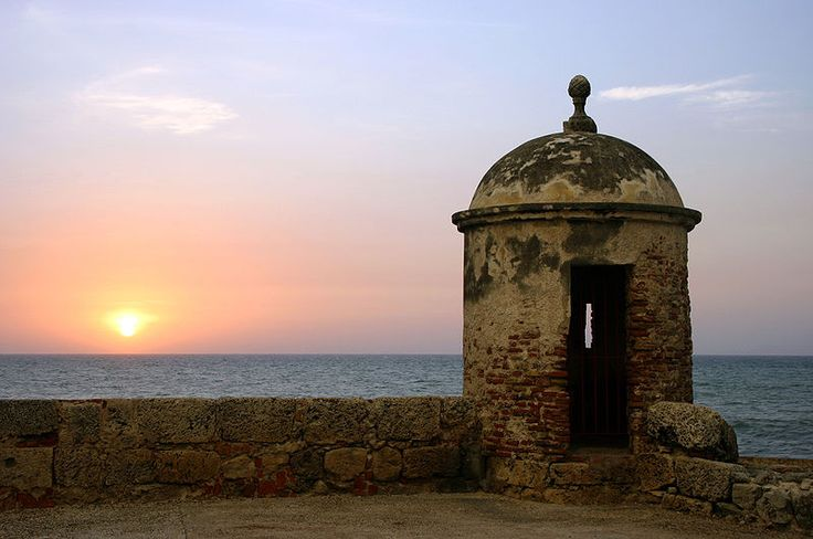 Fortifications of the old city of Cartagena, one of the seven UNESCO World Heritage Sites of Colombia.