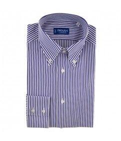 Navy Stripe Luxury Button Down Shirt
