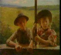KUNSTNERENS BORN VED VINDUE by Erik Theodor Werenskiold