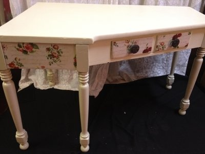 Items Similar To Refinished Garden Cream Cottage Corner Desk/table On Etsy.  Find This Pin And More On Lejeune Yard Sales ...