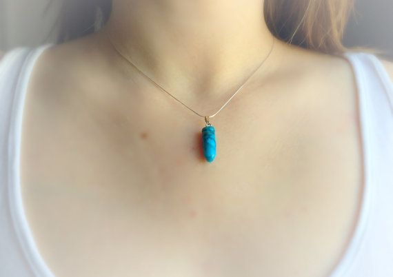 Turquoise Necklace Turquoise Crystal Pendant by DanusHandmade