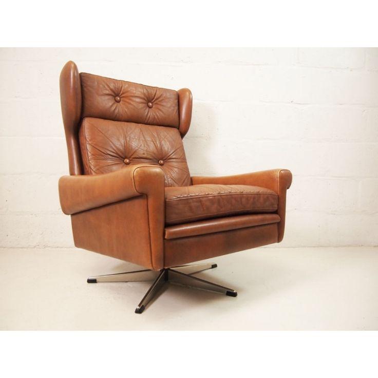 Danish Tan Leather High Back Swivel Chair | vinterior.co