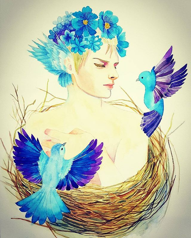 A little bird : My lovely baby  #drawing #painting #art #coloredpencils #watercolor #illustration #bird #nest #그림 #색연필 #일러스트 #일러스트레이션 #새 #새둥지 #아기새 #꽃 #수채화