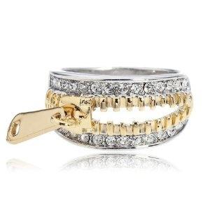 Swarovski Crystal Gold-and-Silver-tone Zipper ring