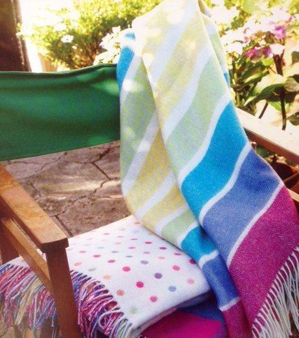 A beautiful 100% new wool multi-colored stripe baby blanket from Gorgeous Creatures www.gorgeouscreatures.co.nz