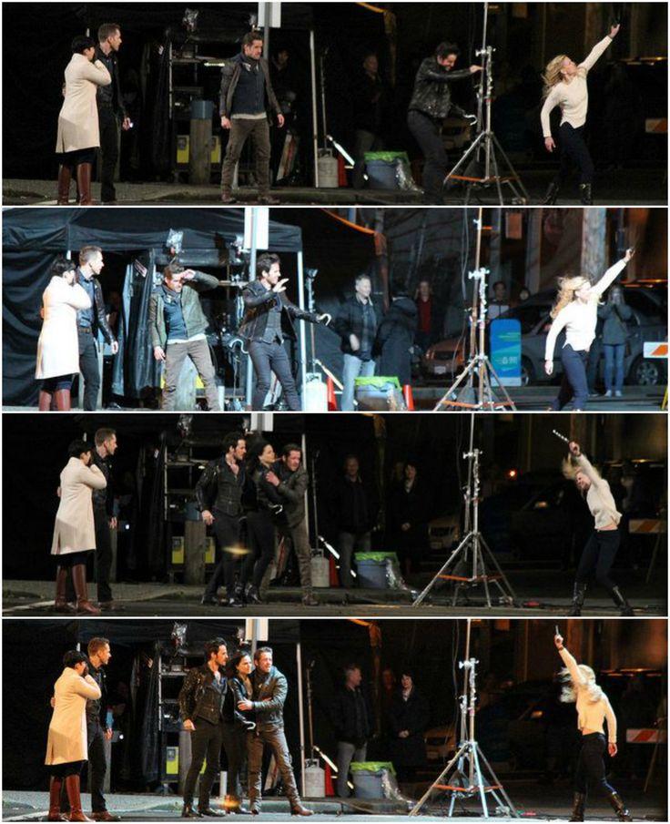 Ginnifer Goodwin, Josh Dallas, Sean Maguire, Colin O'Donoghue, Lana Parrilla, & Jennifer Morrison filming scenes for the season finale - April 1, 2015