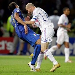 France's streetfighter Zinedine Zidane going back to his roots during the World Cup final in Berlin, 9 July, 2006.