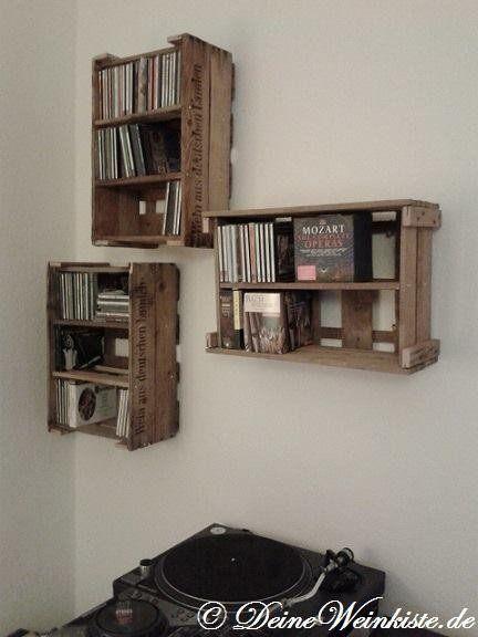 CD-Regal aus Weinkisten (mit Anti-Holzwurm-Wärmeb…