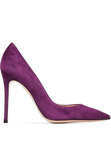 Heel measures approximately 105mm/ 4 inches Purple suede Slip on Designer color: Prune Made in Italy
