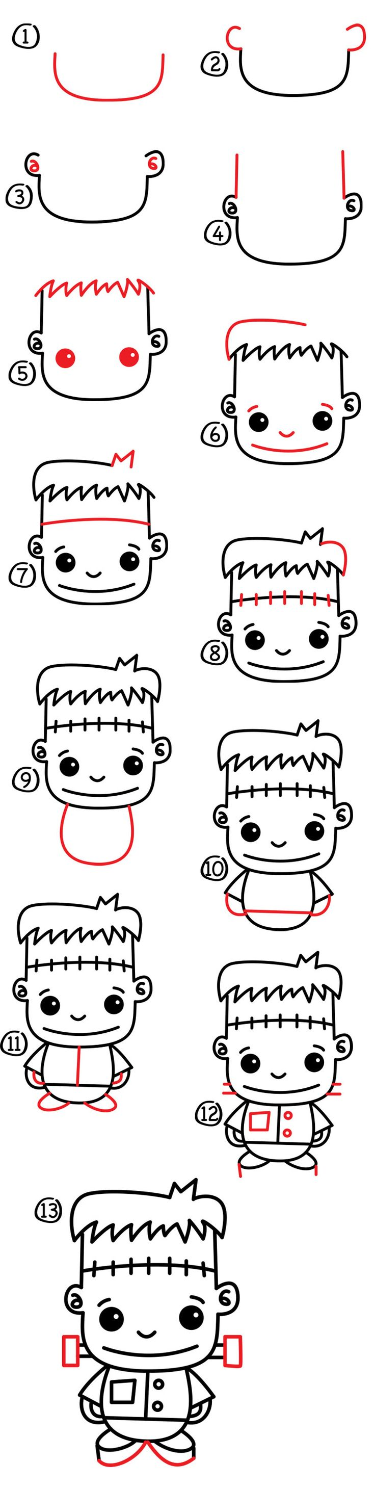 What's Halloween with out a how to draw Frankenstein? Simple step by step for kids, even download and print the steps for free!